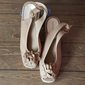 Nude suede wedges by Bandolino